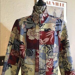 Christopher & Banks zip front blazer tapestry sz L